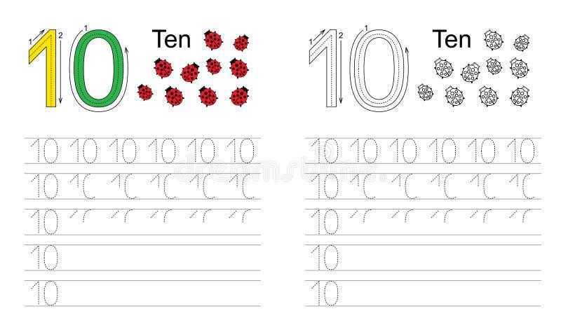 Tracing worksheet for figure ten vector illustration