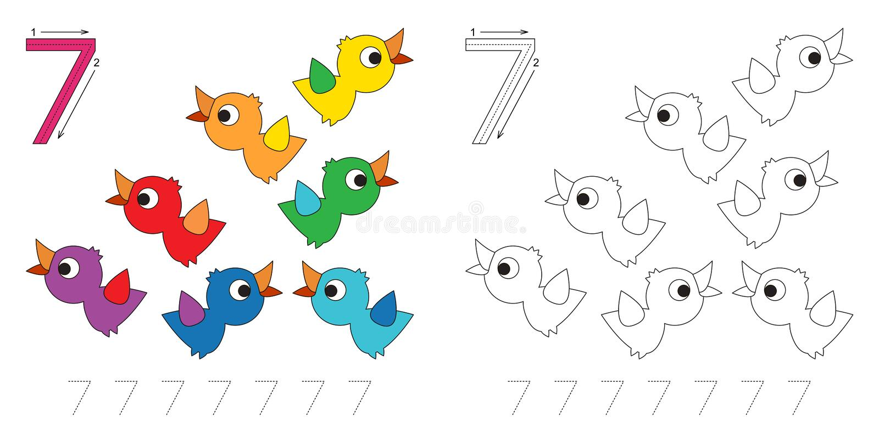 Tracing worksheet for figure 7 stock illustration