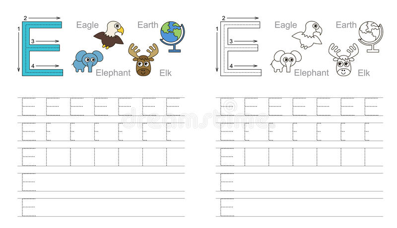 Tracing worksheet for letter E stock photography