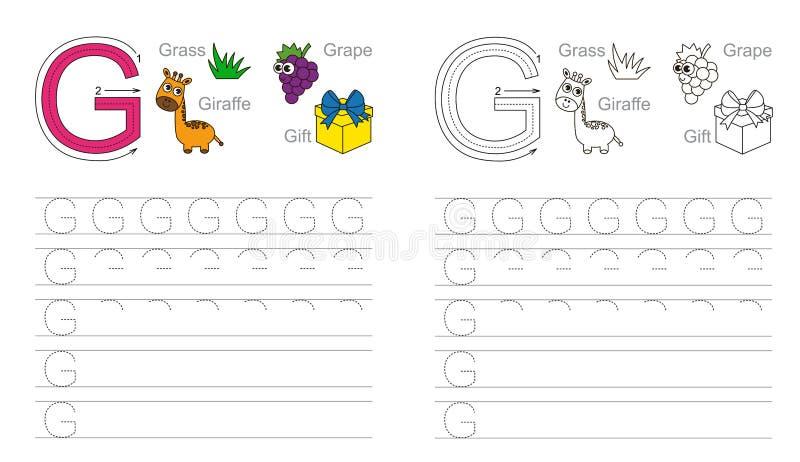 Tracing worksheet for letter G vector illustration