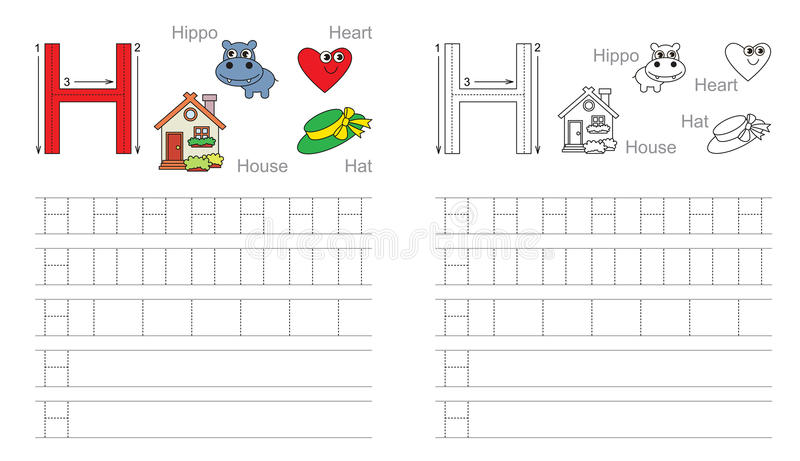 tracing worksheet for letter h stock vector illustration of collection brain 62840177. Black Bedroom Furniture Sets. Home Design Ideas