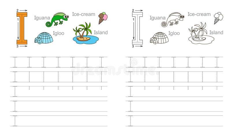 Tracing worksheet for letter I royalty free illustration
