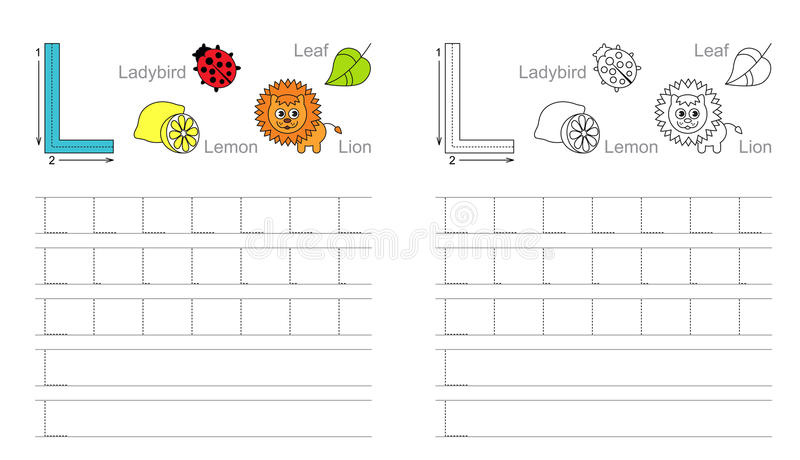 Tracing worksheet for letter L royalty free stock photography