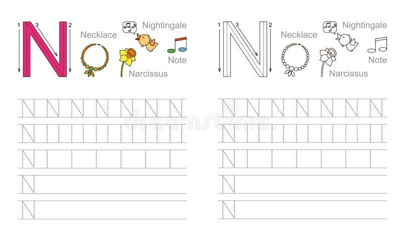 Tracing worksheet for letter N stock image
