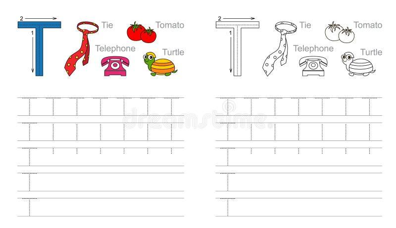 Tracing worksheet for letter T royalty free illustration