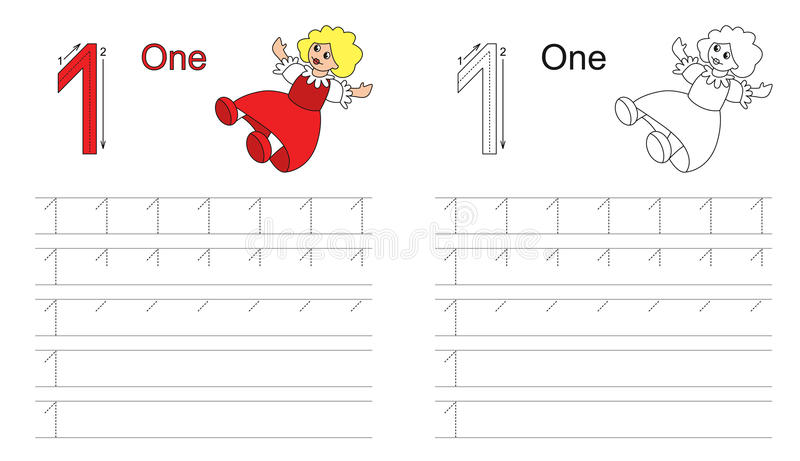 Tracing worksheet for letter 1 stock illustration
