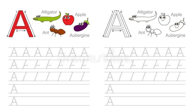 Tracing worksheet for letter A royalty free illustration