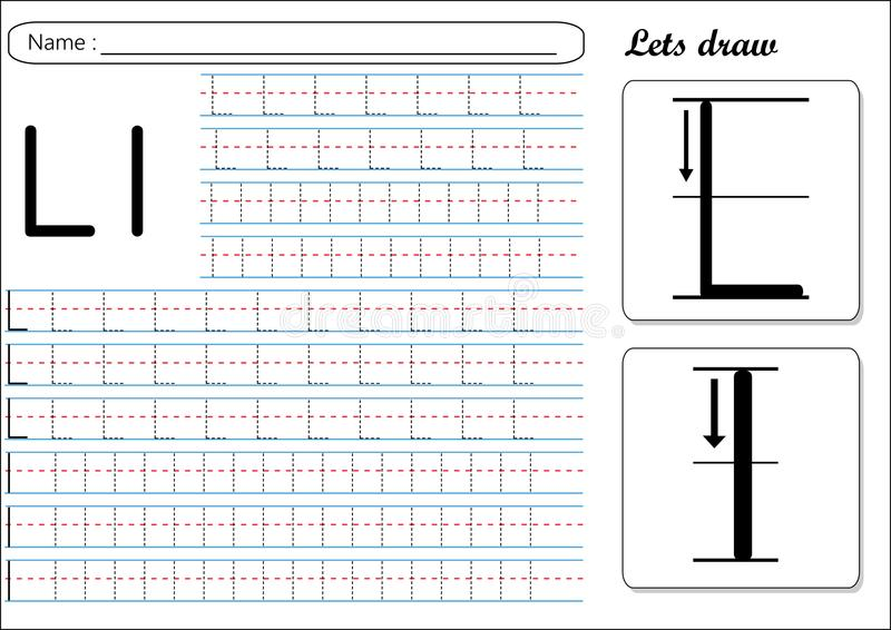 Tracing Worksheet -Ll. Alphabet tracing is made easy for kids to improve their handwriting skills, This worksheet will help kids to trace Capital letter L and royalty free illustration
