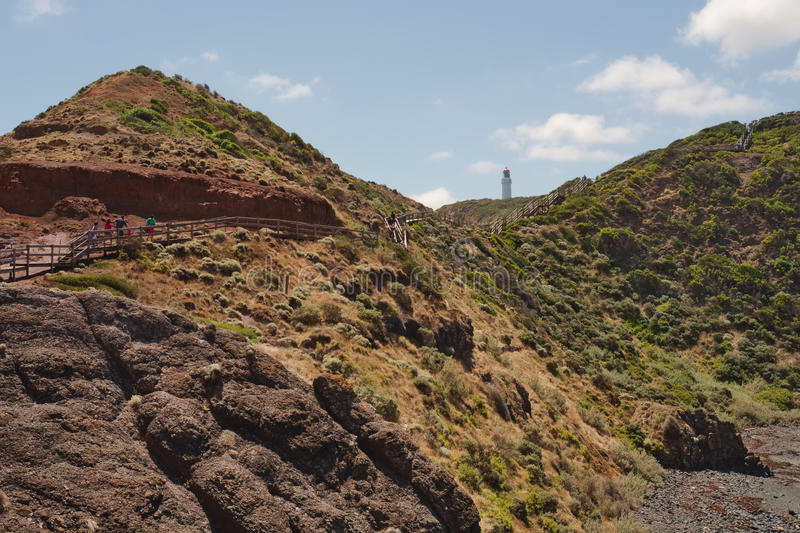 Track at Cape Schank. Tourist wooden pathway along sandstones and black rocks leading to lighthouse at Cape Shank in Victoria, Australia royalty free stock photo