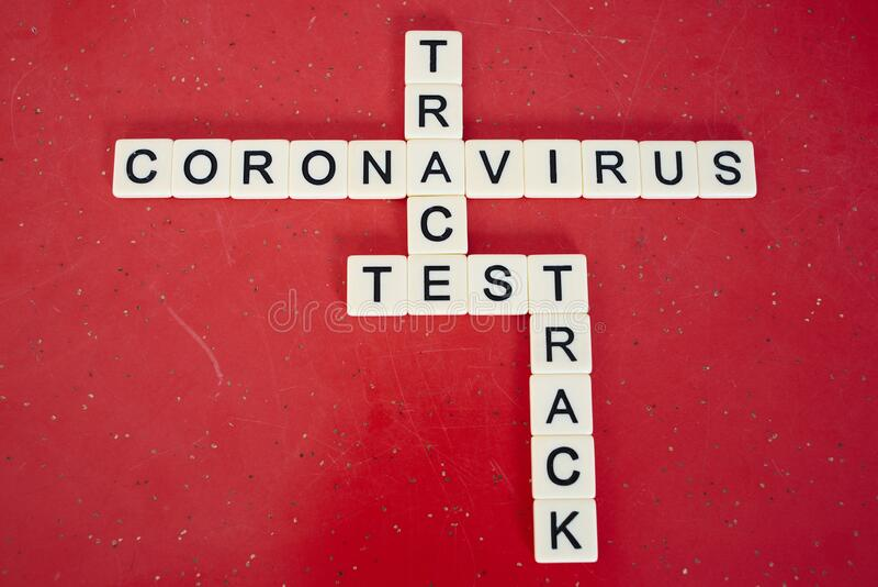 TracK Covid-19冠状病毒作用试验 库存照片
