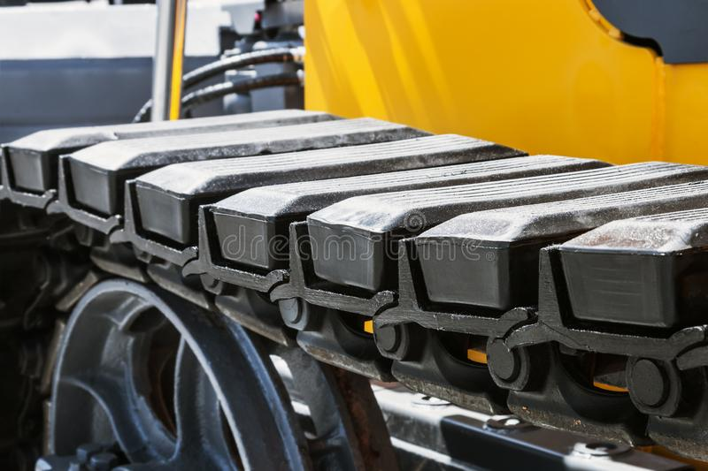 Track equipment installed on a tractor, excavator. Or bulldozer stock photography