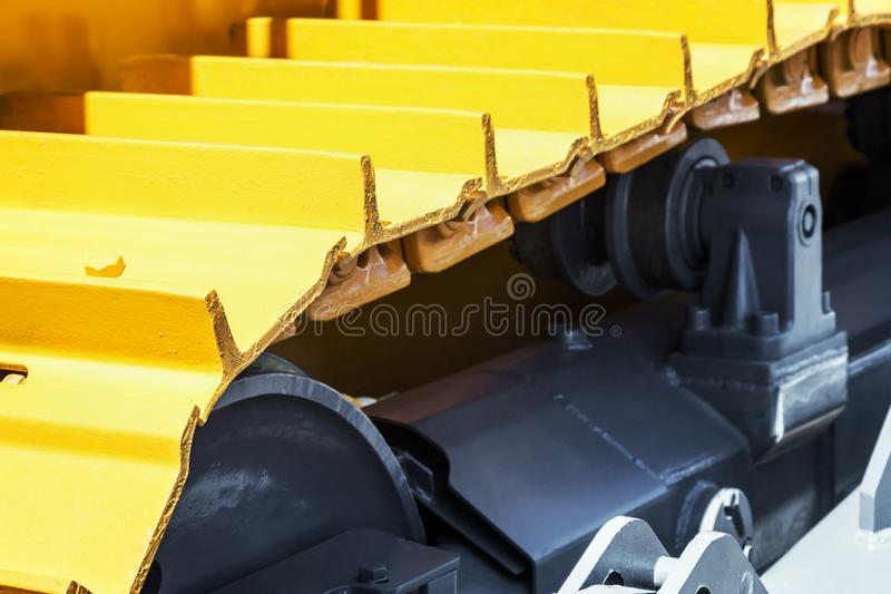 Track equipment installed on a tractor, excavator. Or bulldozer royalty free stock photos