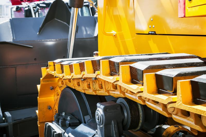Track equipment installed on a tractor, excavator. Or bulldozer stock images