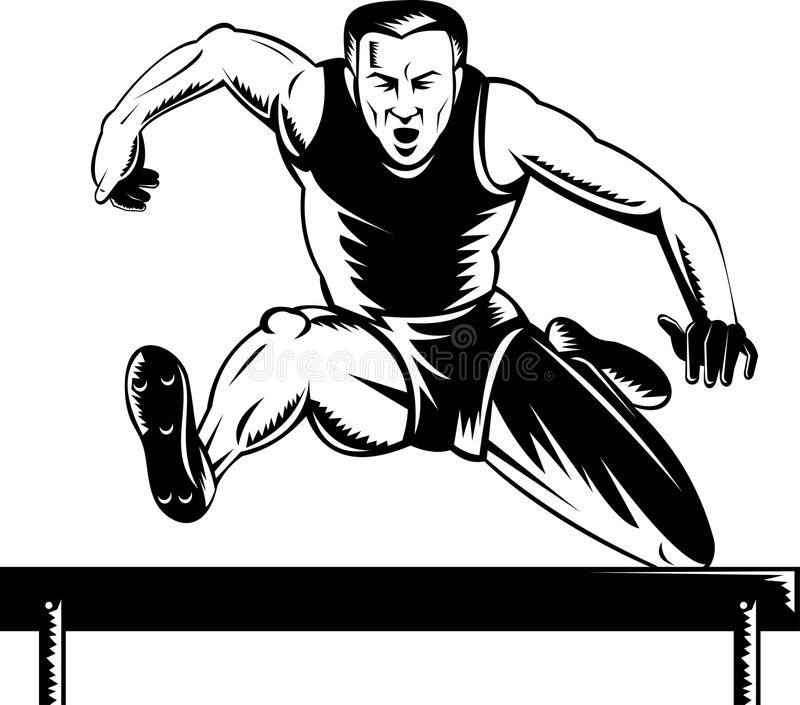 Track and field athlete hurdles vector illustration