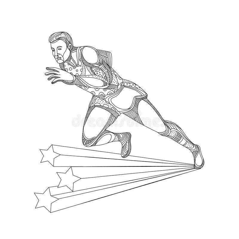 Track and Field Athlete Running Doodle Art vector illustration