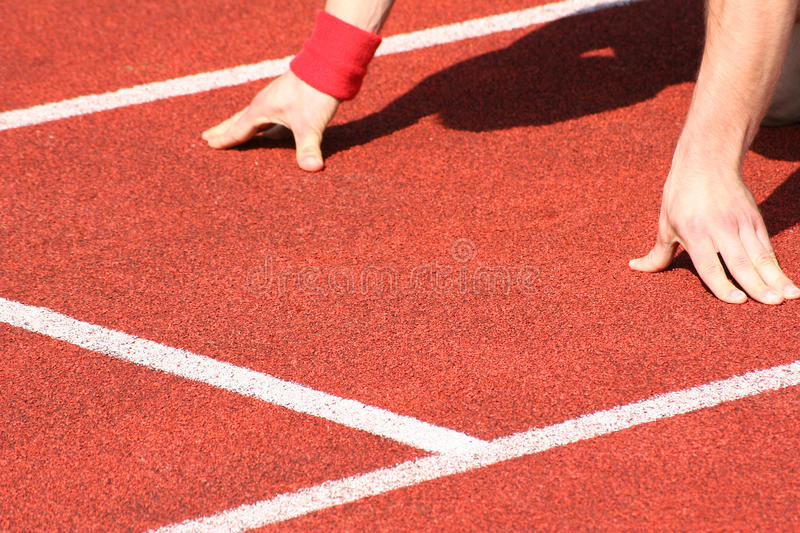 Track and field athletics. Typical scene on a sport field of track and field athletics stock image