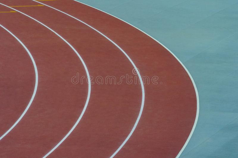 Track and Field Lanes. Running lanes at a track and field athletic center royalty free stock photography