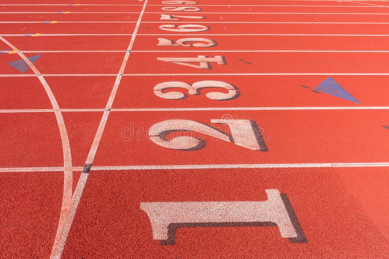 Track and field race course lane numbers 1 thru 9.  royalty free stock photography