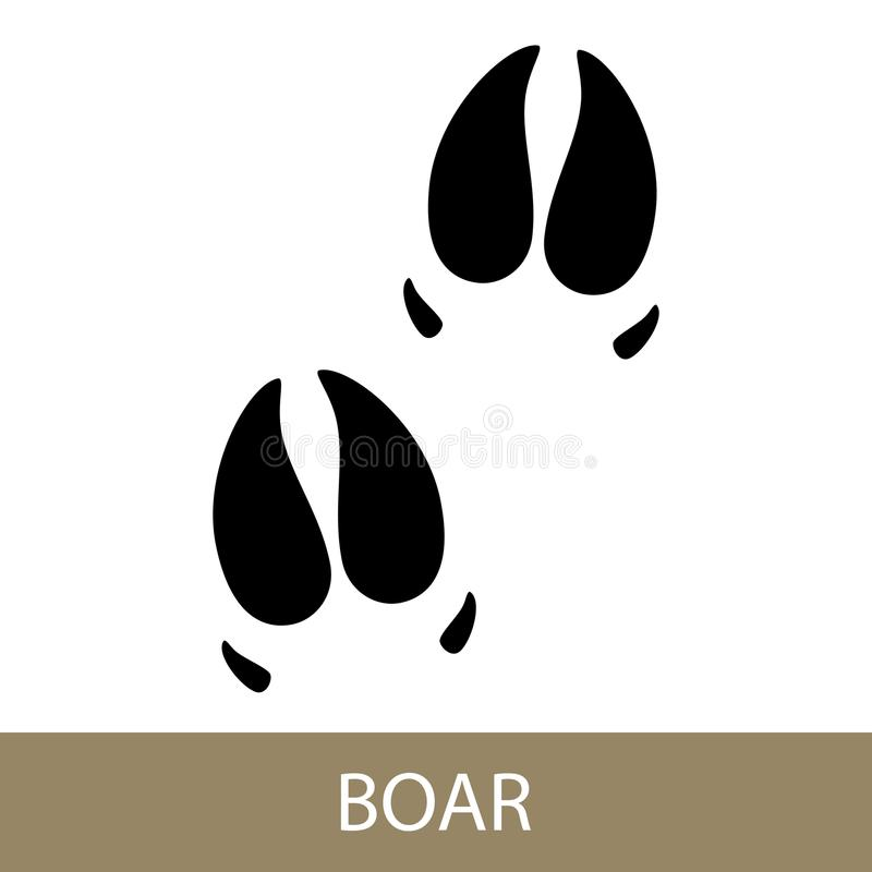 Trace of Animal Boar. Track of Forest Animal,Trace of a Predatory Animal Boar, Vector Illustration stock illustration