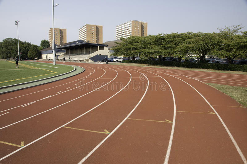 Track lanes close to a turn royalty free stock image