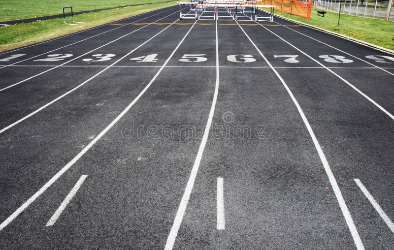 Download Track With Lanes And Hurdles Stock Photo - Image of hurdles, competitors: 2451610