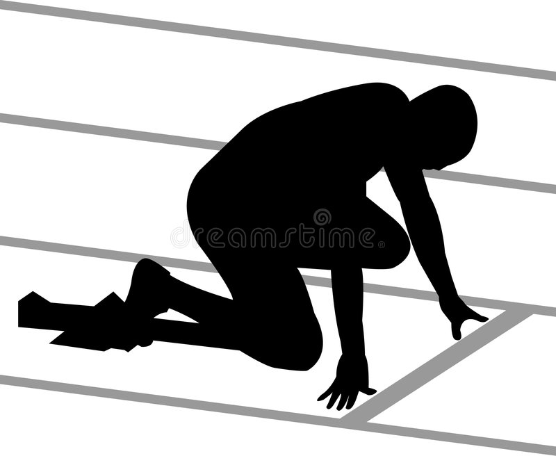 Track Runner. Illustration of a track and field athlete in the starting block