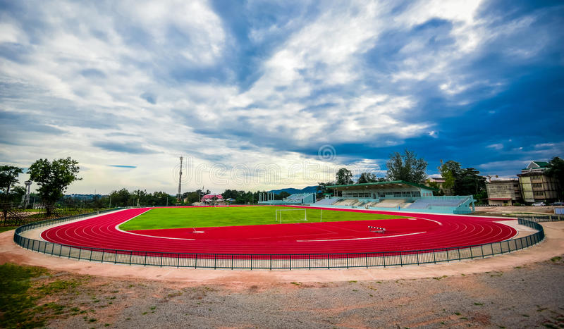 Track running in sport clup. Athletics royalty free stock photography