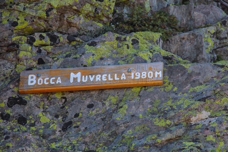 Track sign of Bocca Muvrella pass. Track sign of Bocca Muvrella 1980 m pass royalty free stock photo