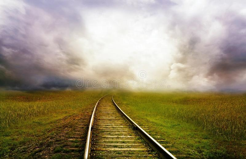Track, Sky, Horizon, Cloud stock photos