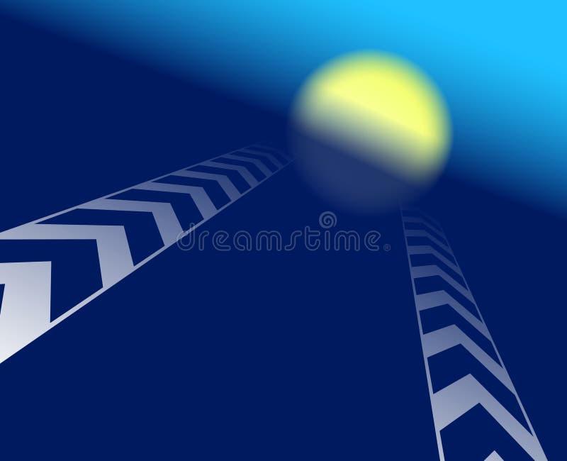 Track course towards sun dawn scene royalty free illustration
