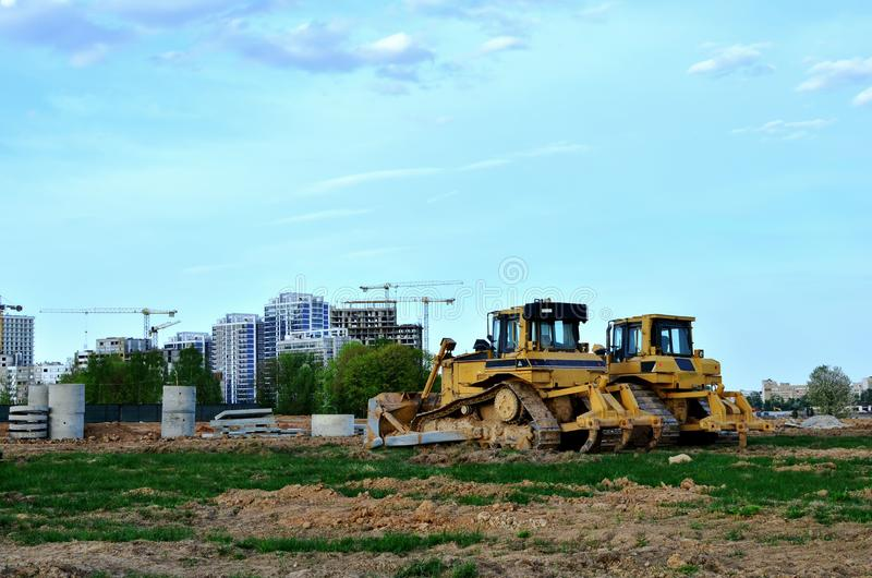 Track-Type Tractors, Bulldozer, Earth-Moving Heavy Equipment for Construction. Image royalty free stock images