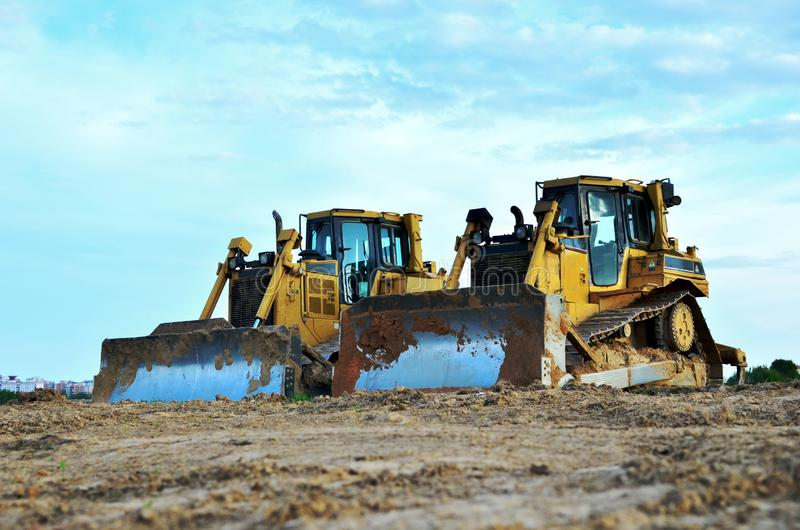 Track-Type Tractors, Bulldozer, Earth-Moving Heavy Equipment for Construction. Image royalty free stock photos