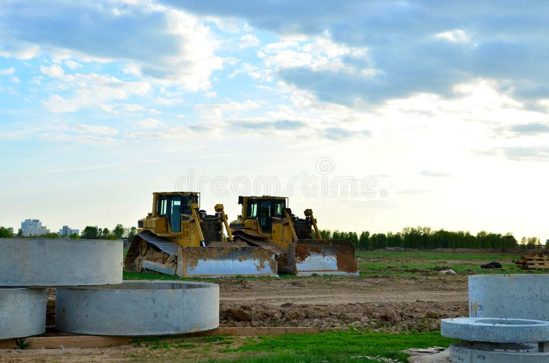 Track-Type Tractors, Bulldozer, Earth-Moving Heavy Equipment for Construction. Image royalty free stock photo