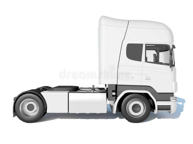 Track white cab side view. Realistic illustration of a truck cab isolated on white background stock illustration