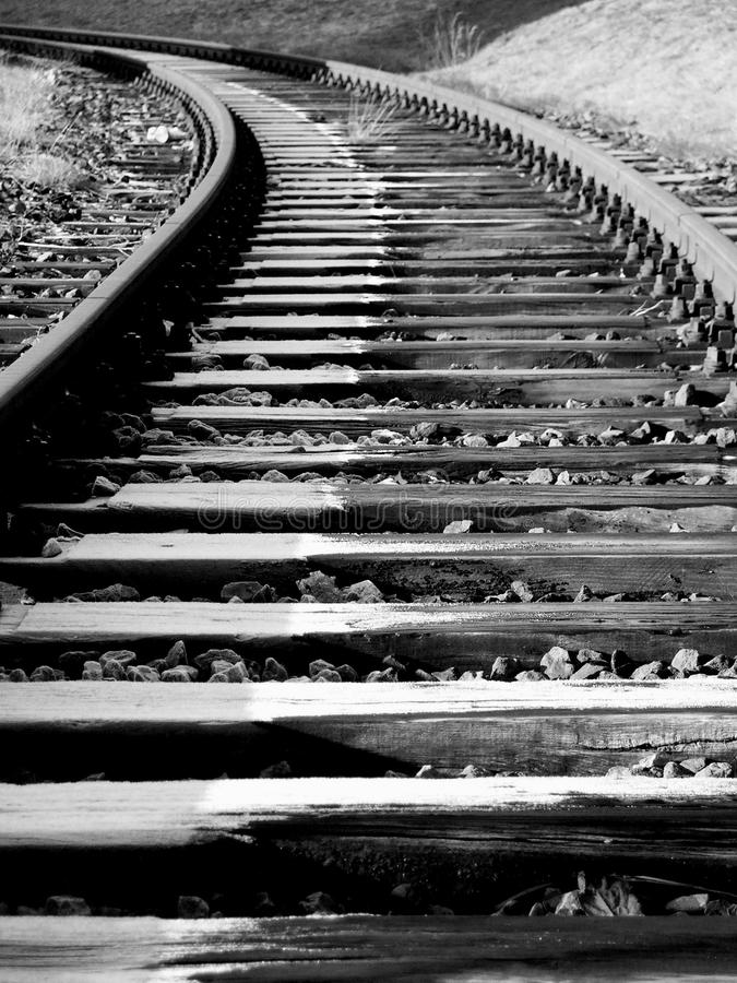 Track in Winter (black & white) stock photos