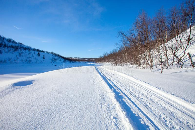 Track for winter sports. Road for snowmobiles, dog sledding and skiing. Winter sunny northern landscape. Norway royalty free stock photography