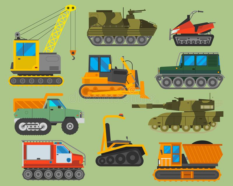 tracked caterpillar excavator tractor vector illustration isolated background construction industry machinery equipment