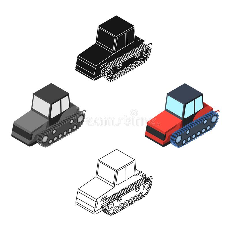 Tracked tractor icon in cartoon,black style isolated on white background. Transportation symbol stock vector. Tracked tractor icon in cartoon,black design stock illustration