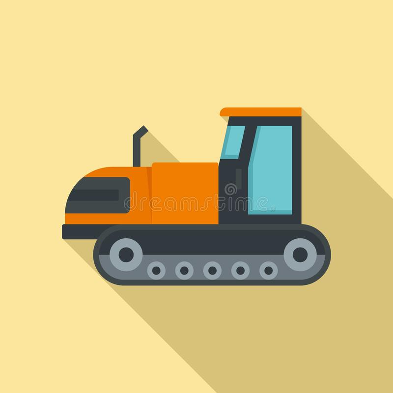 Tracked tractor icon, flat style. Tracked tractor icon. Flat illustration of tracked tractor vector icon for web design royalty free illustration