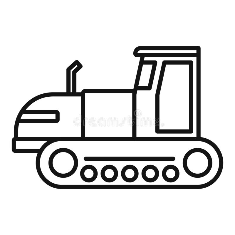 Tracked tractor icon, outline style. Tracked tractor icon. Outline tracked tractor vector icon for web design isolated on white background royalty free illustration