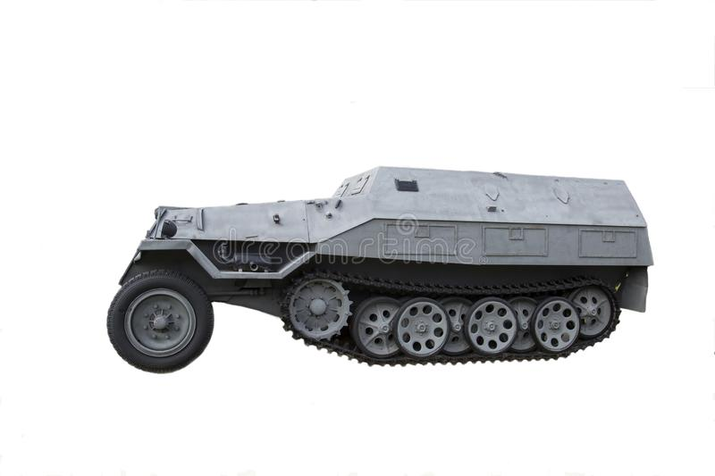 Tracked and wheeled armored vehicle isolated on white background, Germany. Military equipment. Of the Second world war stock photo