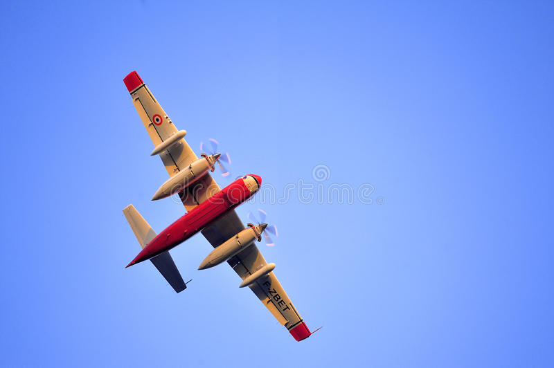 Tracker water bomber. In the sky of southern France from extinguishing a forest fire royalty free stock photo