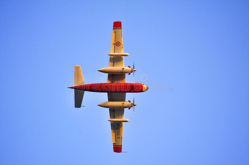 Tracker water bomber. In the sky of southern France from extinguishing a forest fire stock photo