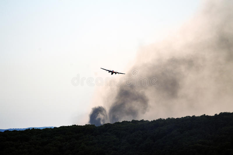 Tracker water bomber. In the sky of southern France from extinguishing a forest fire royalty free stock images
