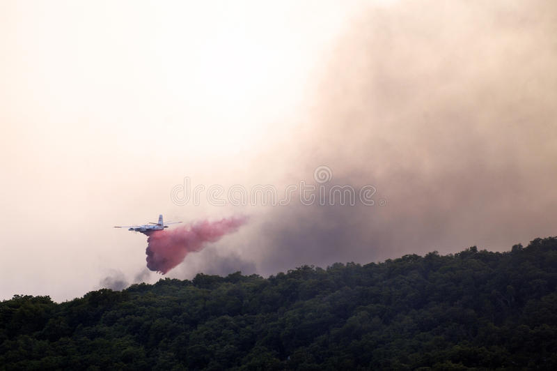 Tracker water bomber. In the sky of southern France from extinguishing a forest fire royalty free stock photos