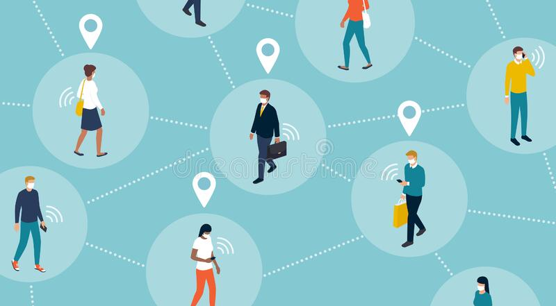 Tracking coronavirus outbreak and people`s location. Tracking people`s location and coronavirus outbreak: crowd of people keeping a safe distance and being royalty free illustration