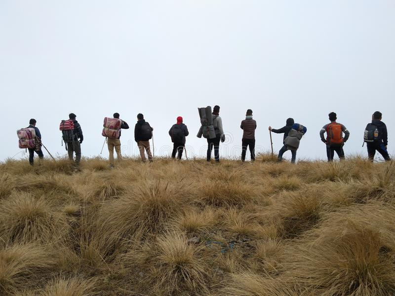Tracking with friends at Maenam, South Sikkim India royalty free stock photos