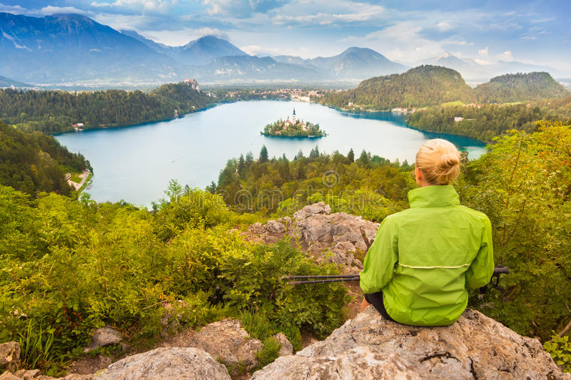 Tracking round Bled Lake in Julian Alps, Slovenia. royalty free stock images