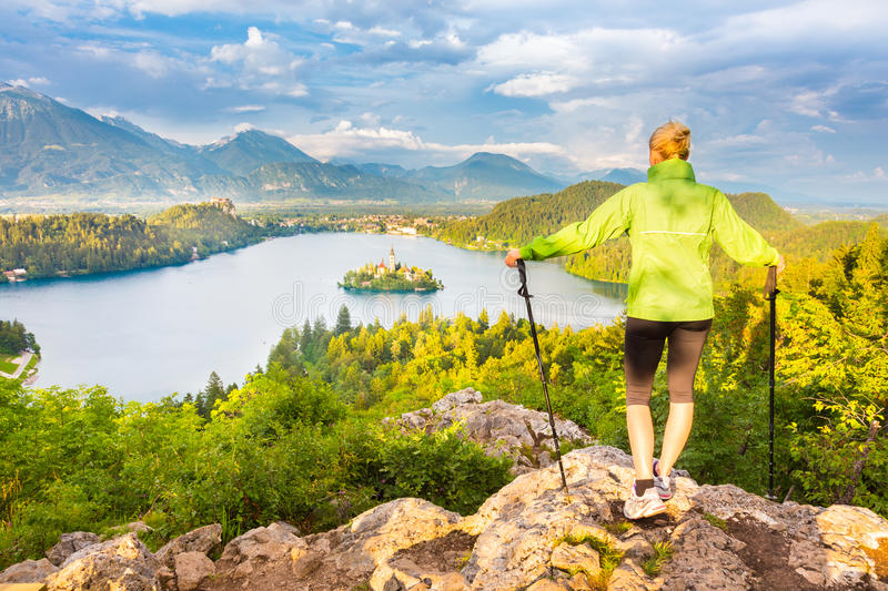 Tracking round Bled Lake in Julian Alps, Slovenia. stock images