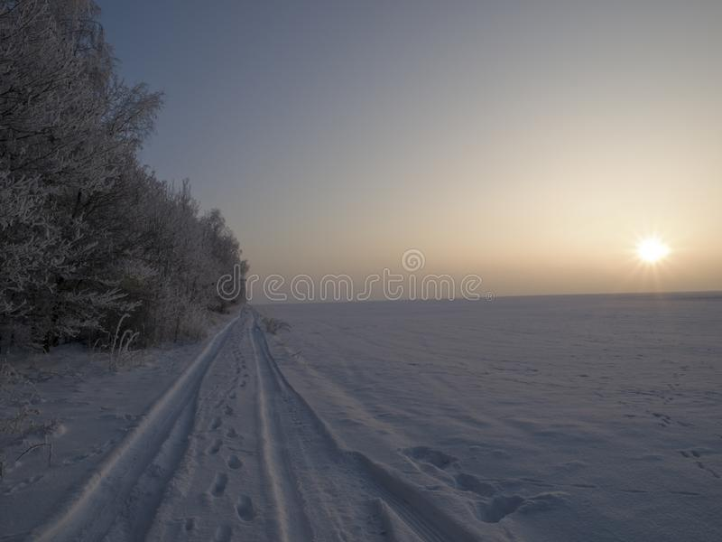 Download Tracks stock image. Image of green, frost, light, blue - 7704239